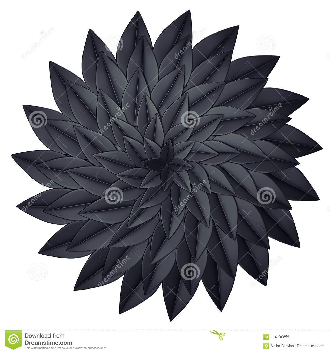 Black Paper Flower On A White Background 3d Render Stock