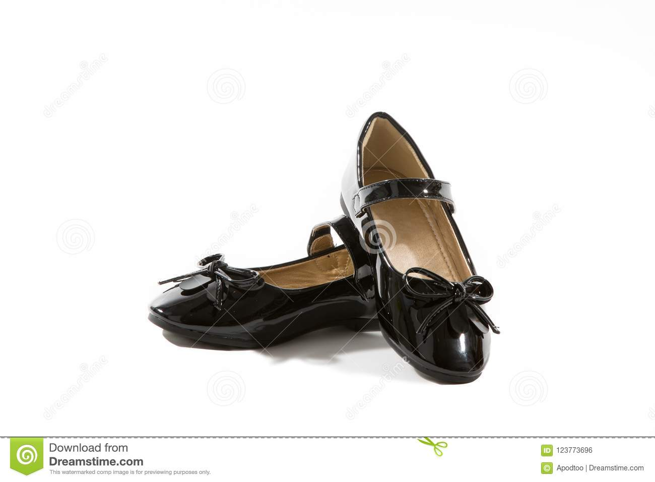 df9a9e41ab5b Black Patent Leather Girls Mary Jane Shoes with Bows and black soles with strap  isolated on white