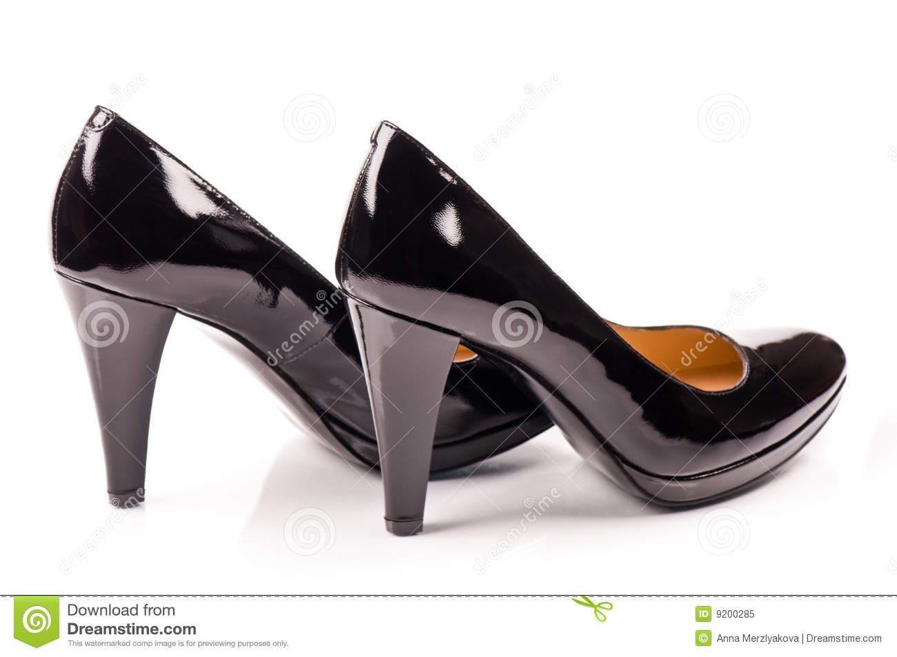black women s patent leather shoes isolated on white