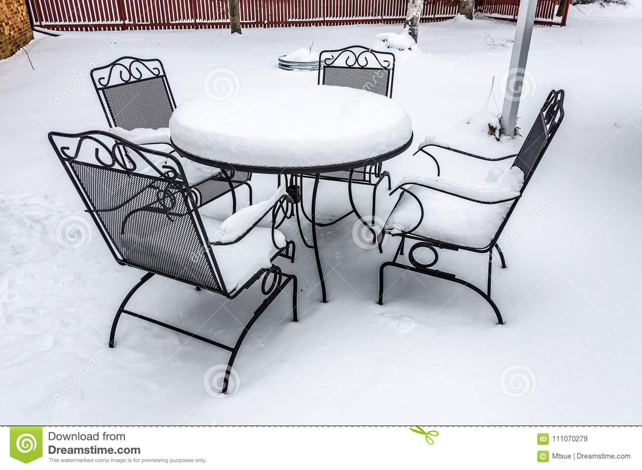 Peachy Snow Covered Patio Furniture Stock Image Image Of Download Free Architecture Designs Embacsunscenecom