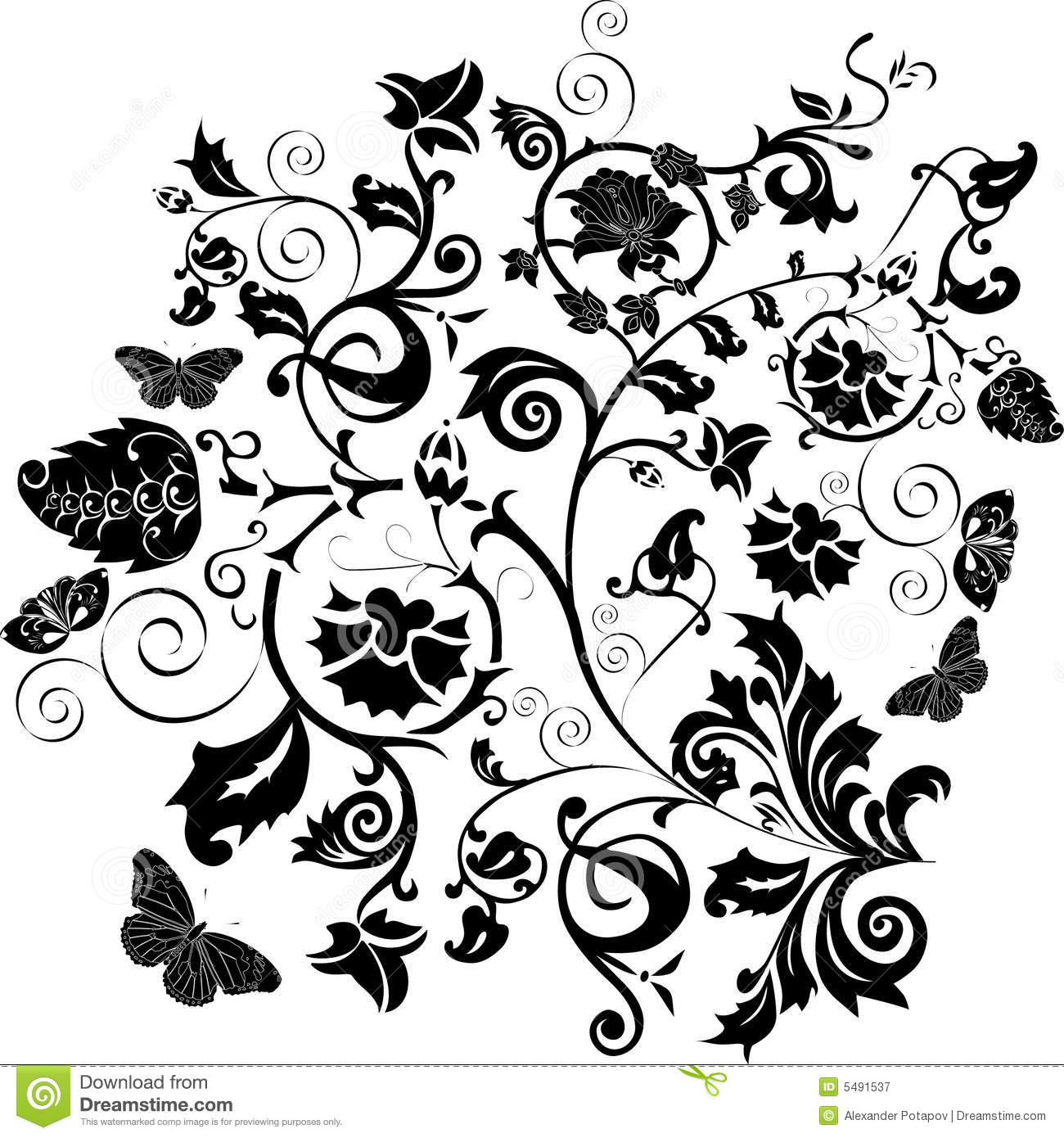Black Flower And Bud Pattern Royalty Free Stock Photos: Black Pattern With Flowers And Butterflies Stock