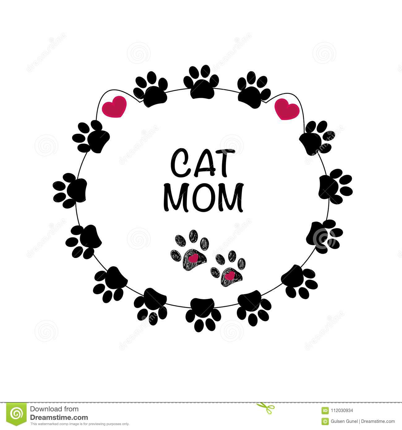 Black paw print with hearts. Best cat mom. Happy Mother`s Day background