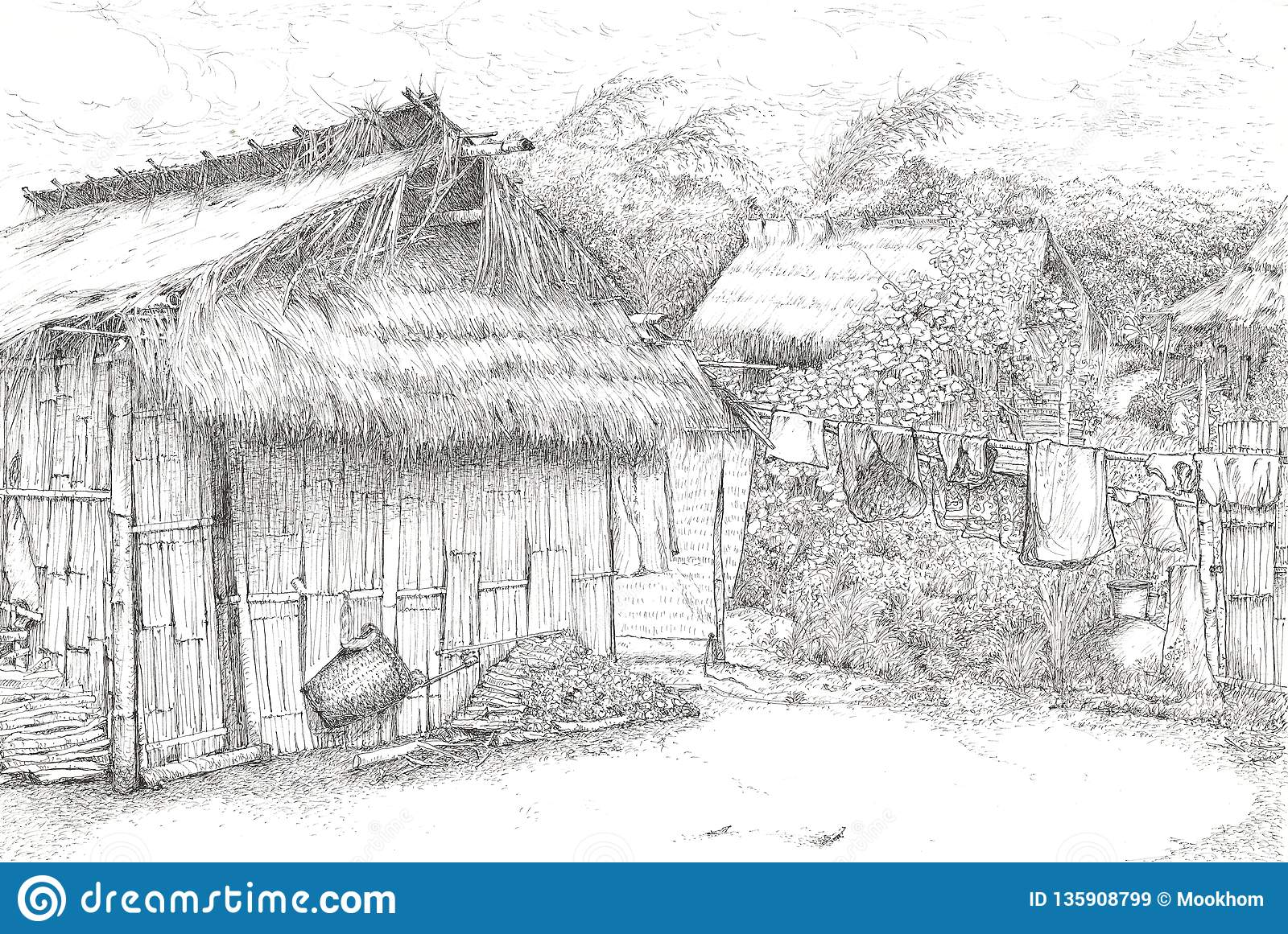 Black Pen Drawing Of Wooden Huts In Thailand S Countryside