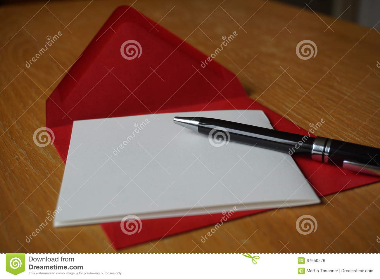 Black Pen Writing Announcement Letter With The Envelope On The ...