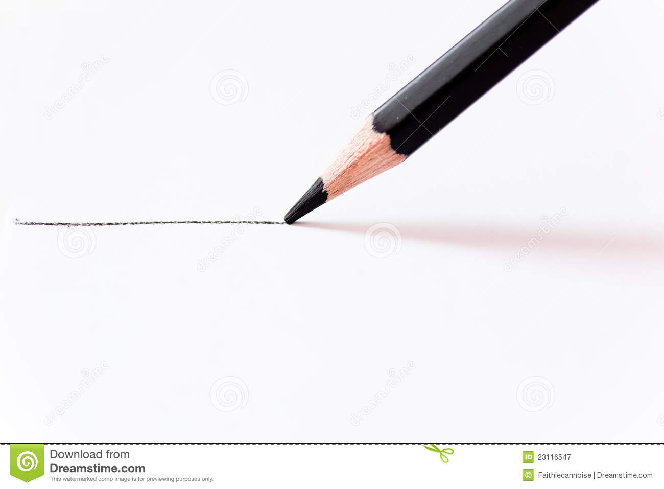 Straight Line Intro The Art Of Closing : Black pencil drawing a straight line on white stock image