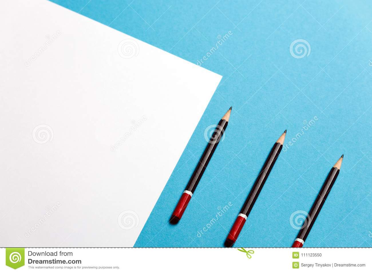 Blue White Office Space Tiffany Black Pencil Lies On Clean White Sheet Of Paper On Blue Background Top View Creative Office Space Minimalism Concept Dreamstimecom Three Pencils Lies On Paper Sheet On Blue Background Top View