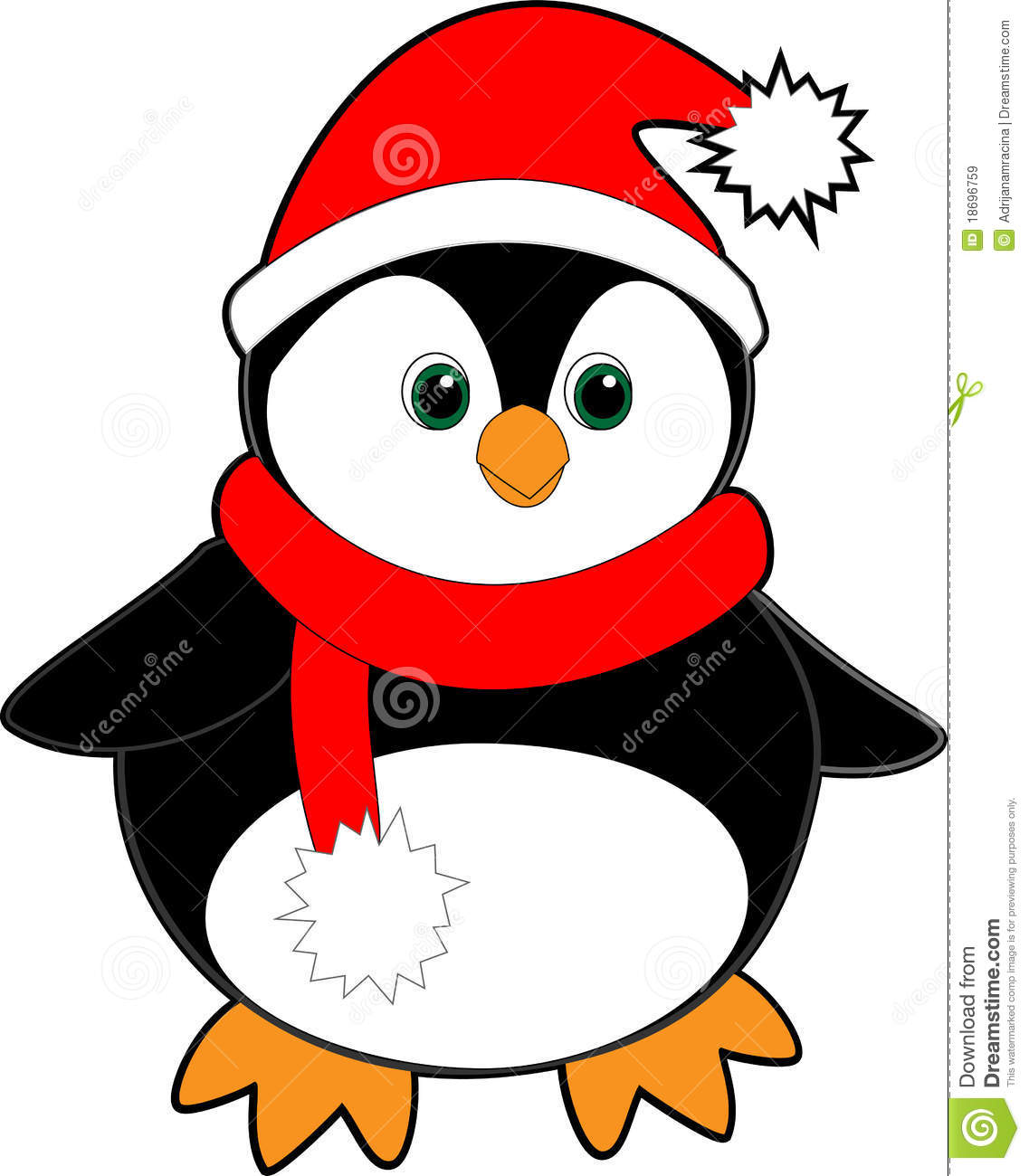 635d4ccf060 Black Penguin With A Red Santa Hat And Scarf Stock Illustration ...