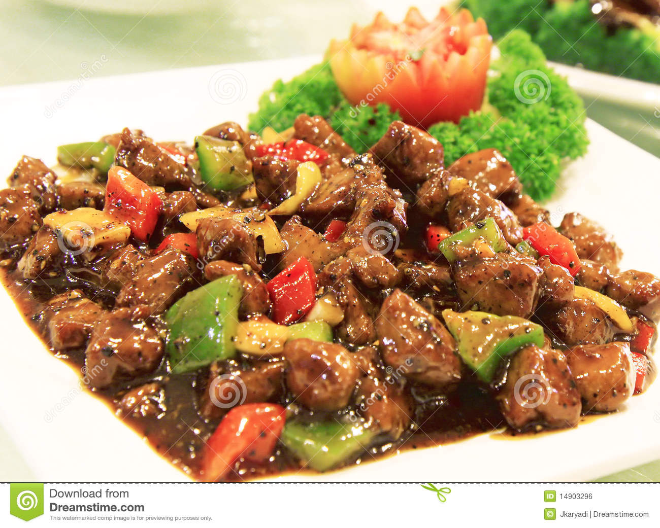 Black Pepper Beef On White Plate Royalty Free Stock Image - Image ...