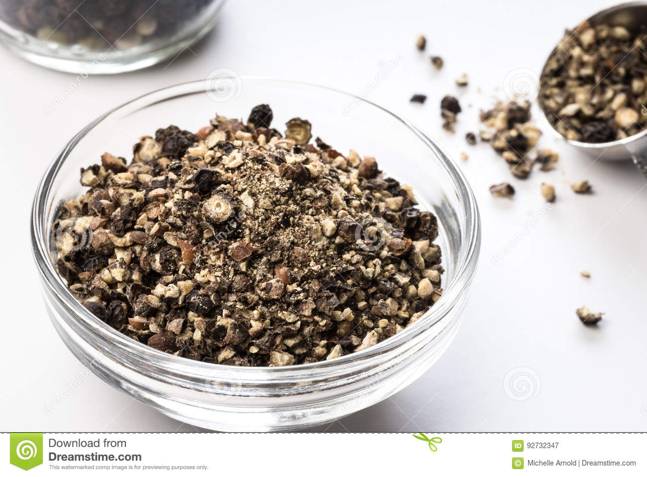 Coarsely Ground Black Pepper in a Bowl