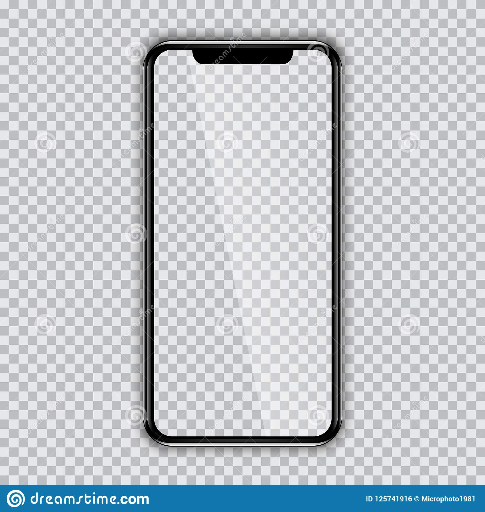 3fac2339bb1fc3 Black phone mock up with blank screen on transparent background. Royalty-Free  Vector