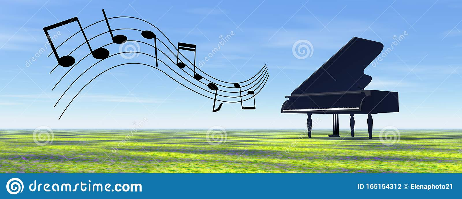 Black piano playing melody in the nature - 3D render