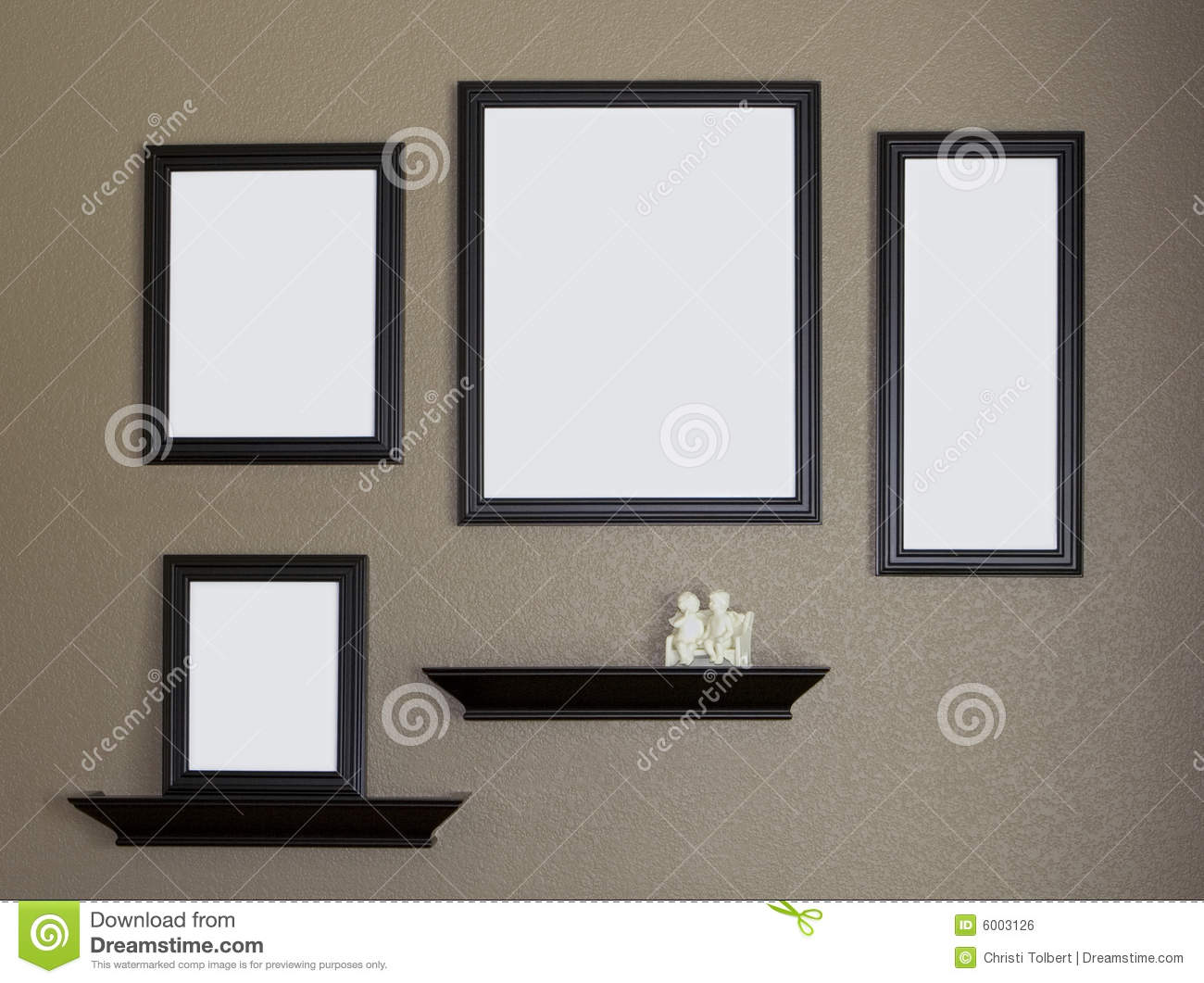 Black Picture Frame And Shelves Collage Stock Photo ...