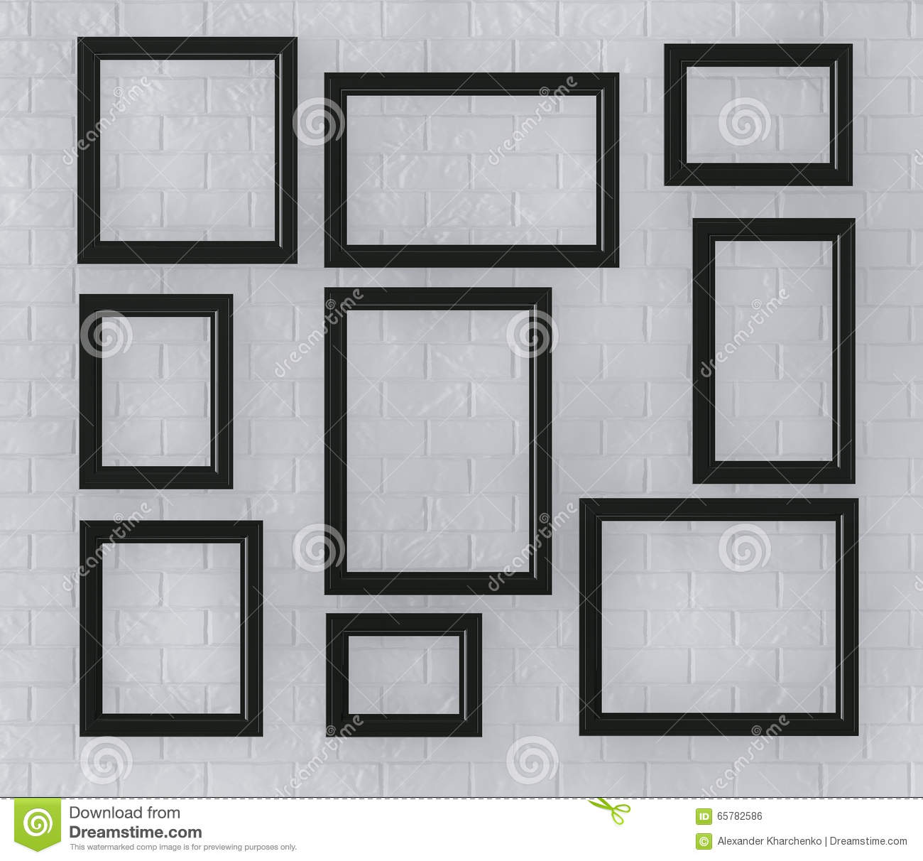 Black Picture Frames on a Brick Wall