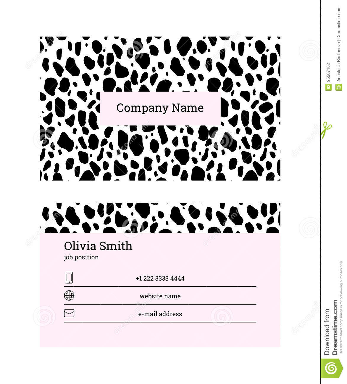 Black and pink business card template stock vector illustration of black and pink business card template maxwellsz