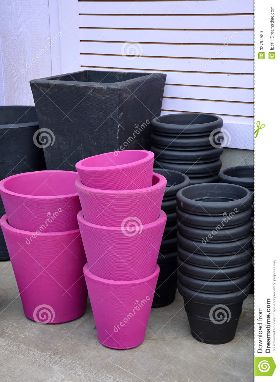 Black and pink flower pots stock photo image of black 33794580 black and pink flower pots mightylinksfo