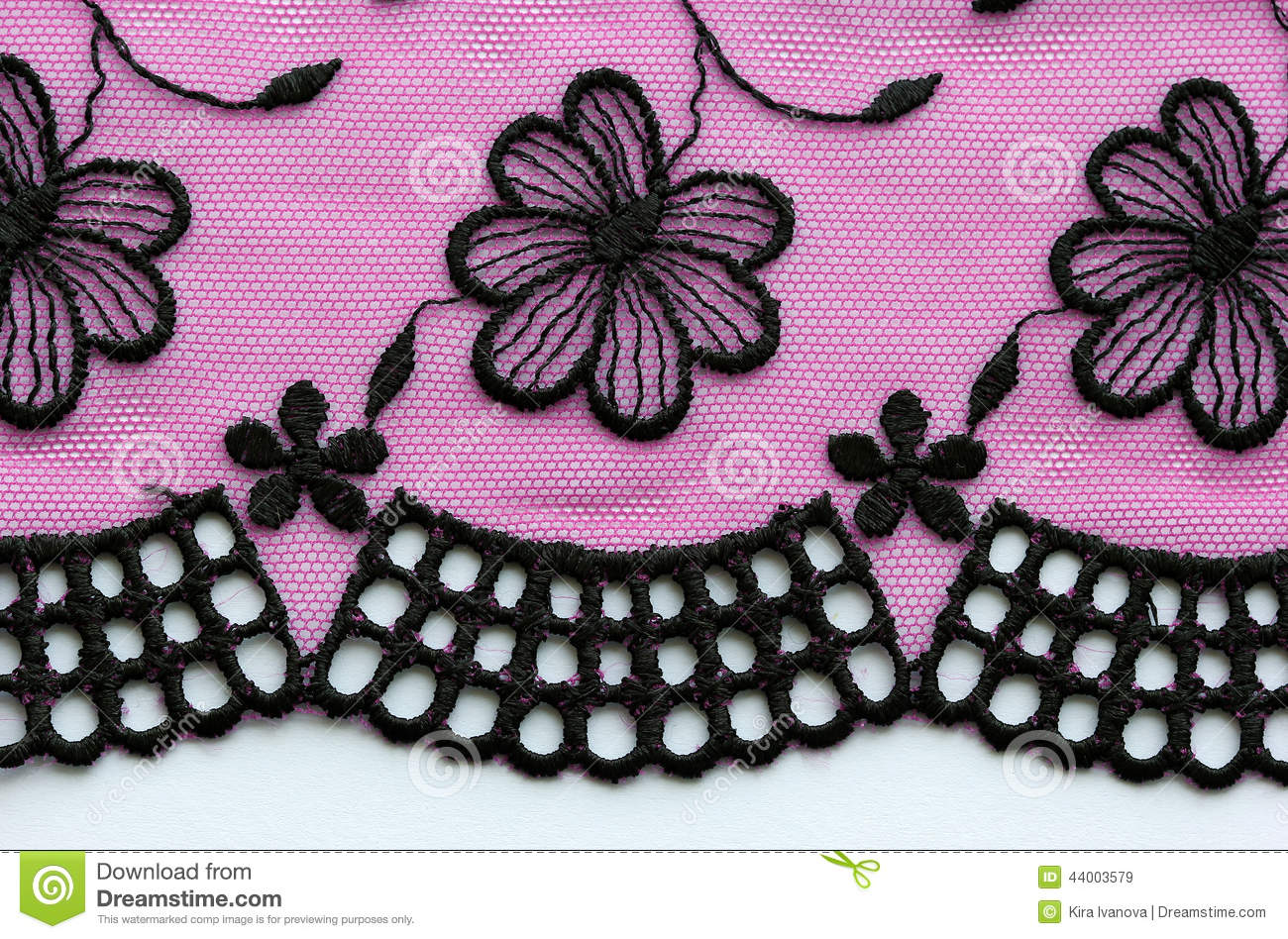 Black And Pink Flowers Lace Material Texture Macro Stock Photo