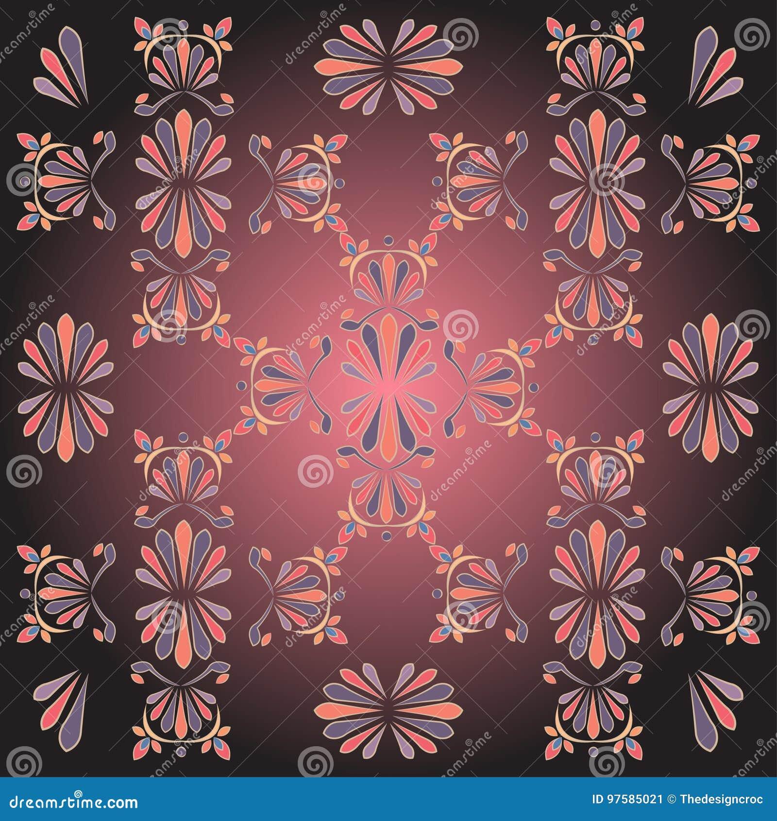 Black Pink Grey Floral Designs Motif Background Stock Vector ...