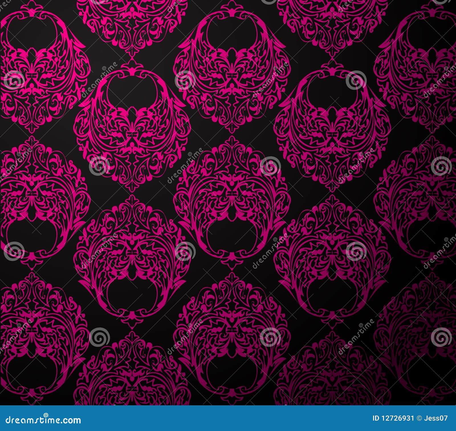 Wallpaper Black Pink: Black And Pink Wallpaper Stock Vector. Illustration Of
