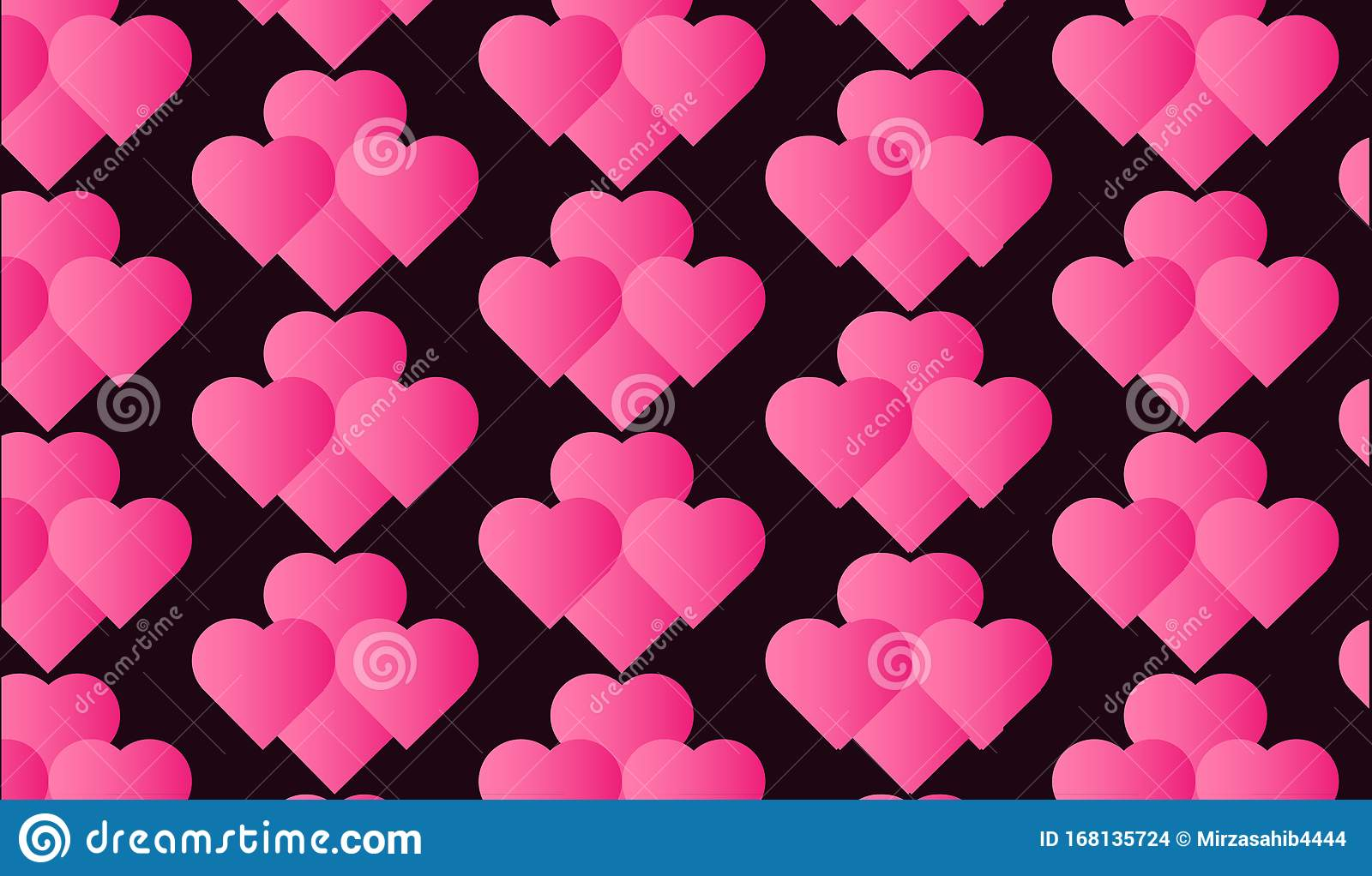 Black And Pink Wallpaper With Pink Hearts Pattern Stock