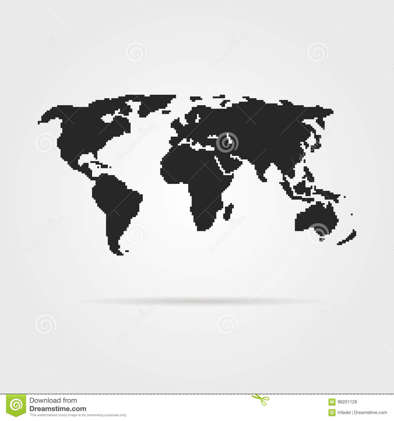 Black pixel art world map with shadow stock vector illustration of black pixel art world map with shadow gumiabroncs Image collections