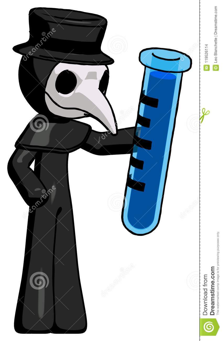 3D Toon Tube Free black plague doctor man holding large test tube stock