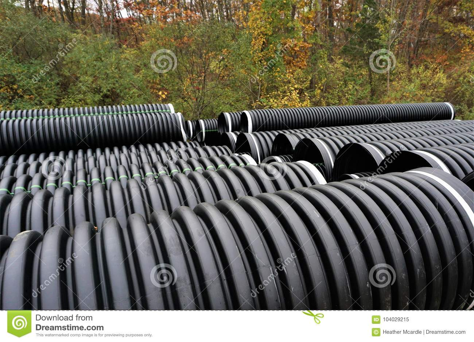 Black Plastic Curvilinear Pvc Pipe Stock Image Image Of