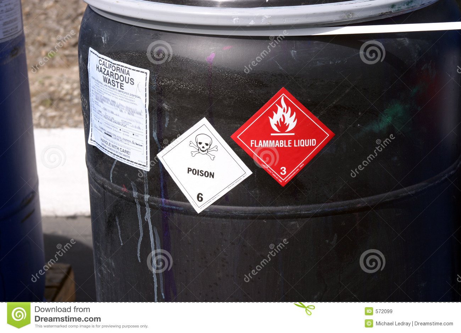 Black plastic drum with hazardous waste