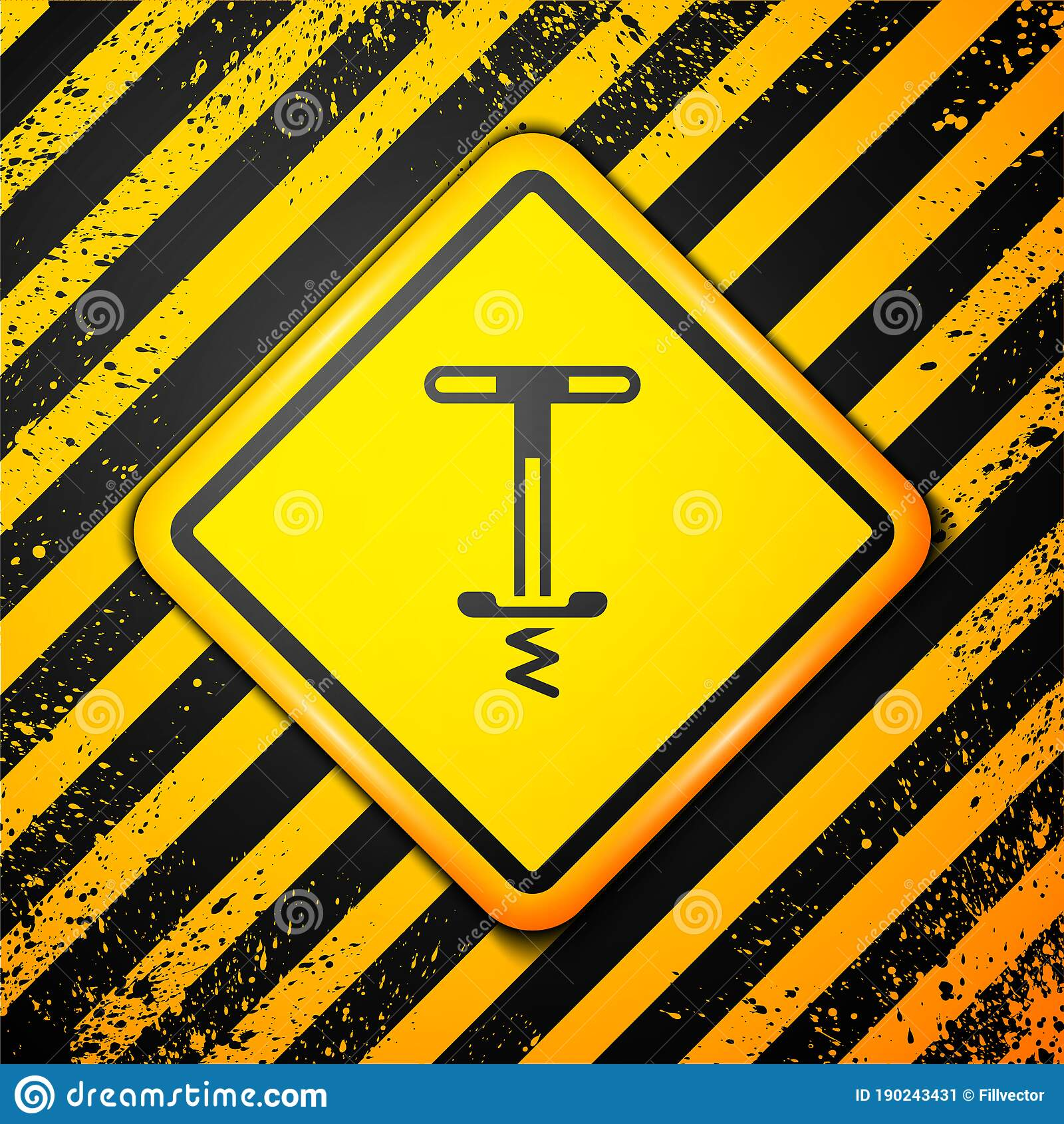 Black Pogo Stick Jumping Toy Icon Isolated On Yellow ...