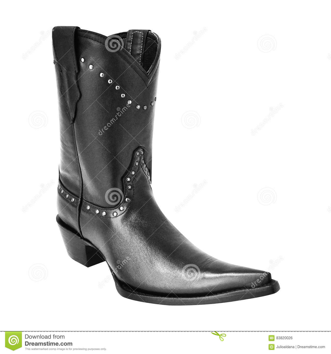 e46059f7e12 Black Pointy Cowboy Boot With Rivets Stock Photo - Image of footwear ...