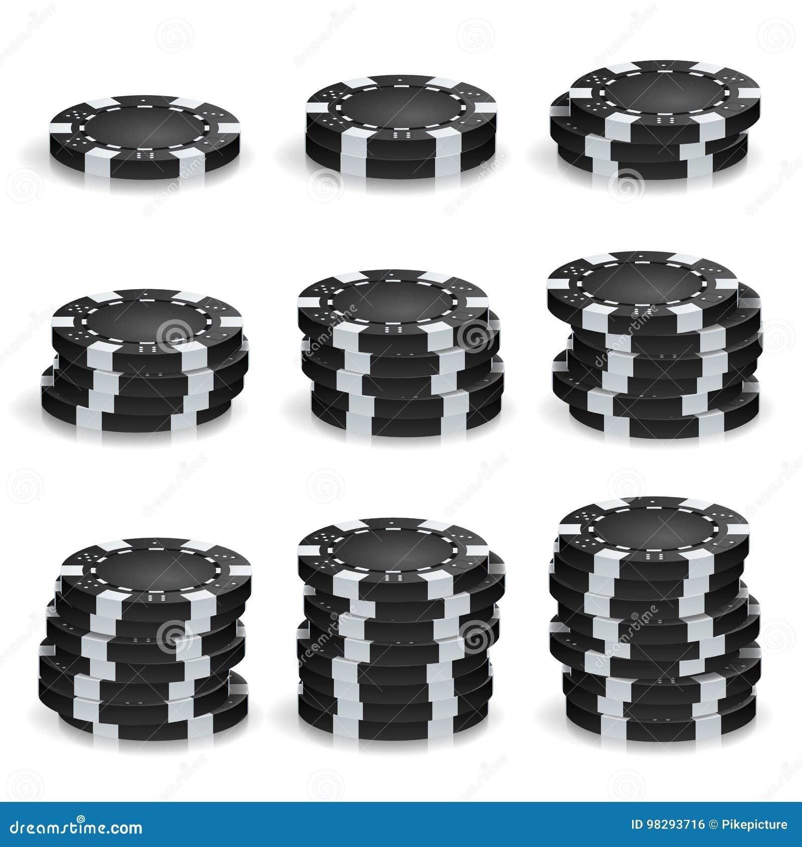 Black Poker Chips Stacks Vector. Realistic Set.