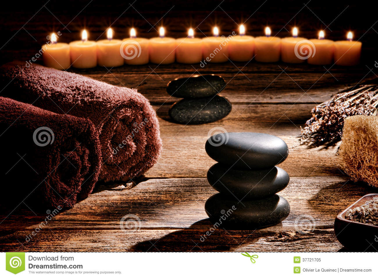 Black Polished Massage Stones Cairn in Rustic Spa