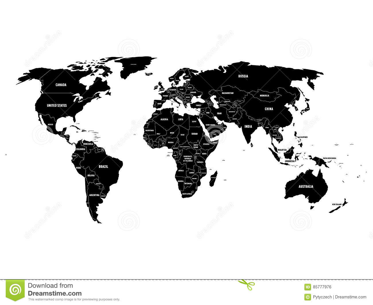 Black Political World Map With Country Borders And White State Name