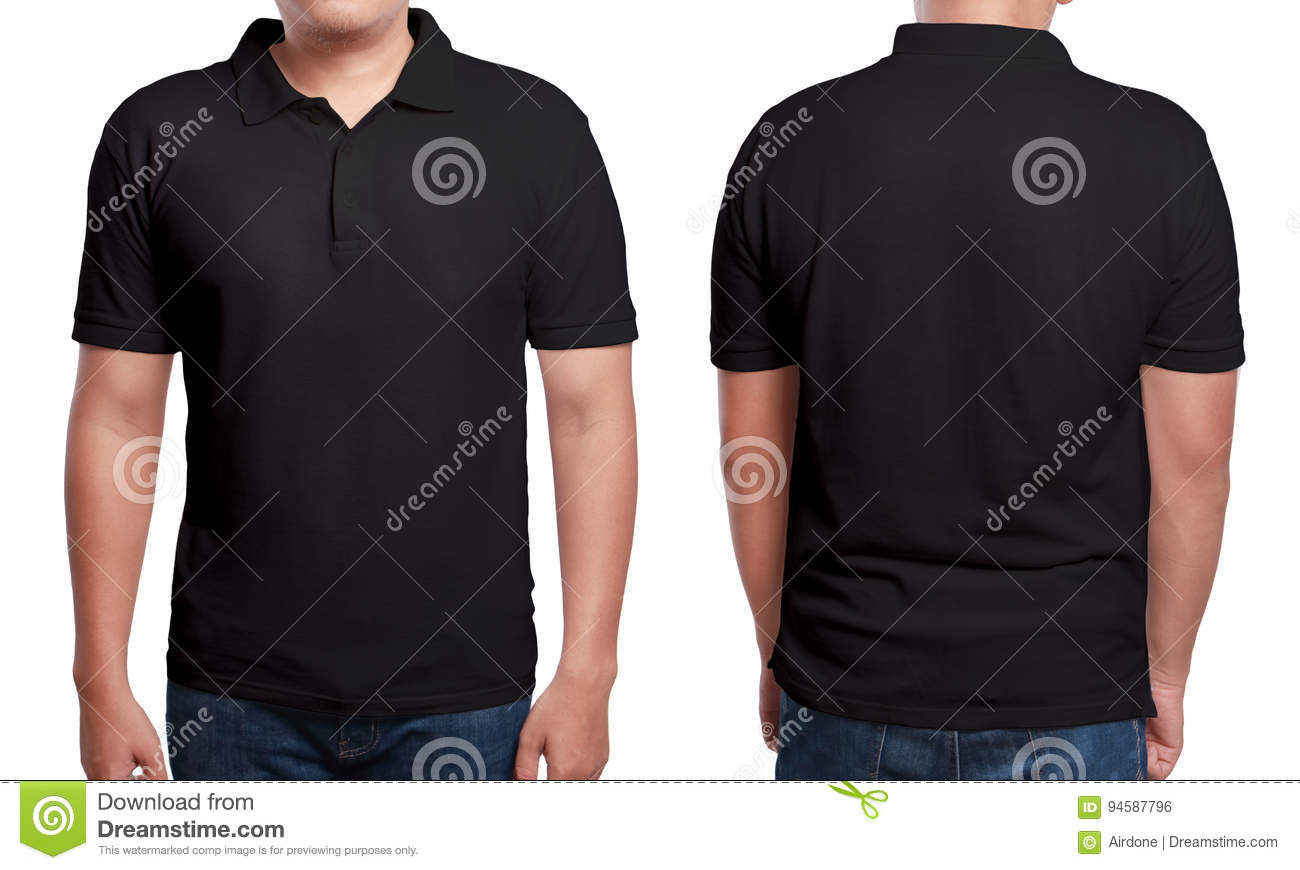 Black t shirt front view - Black Polo Shirt Design Template Royalty Free Stock Image
