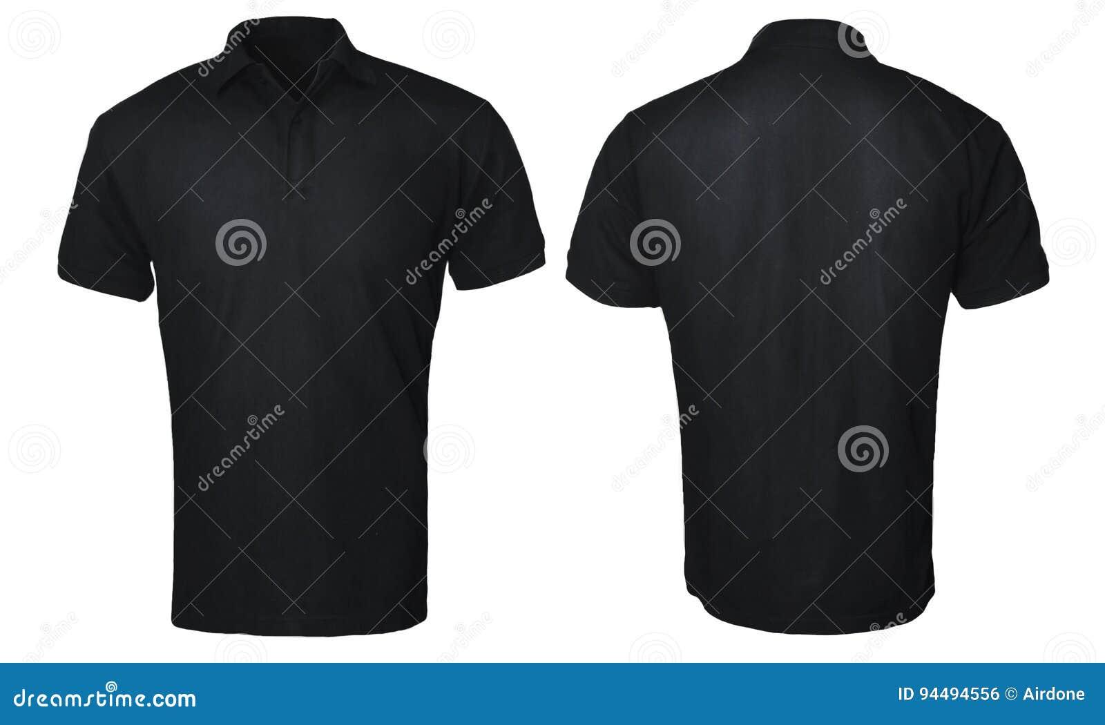 Black t shirt front and back plain - Black Polo Shirt Mock Up Royalty Free Stock Image