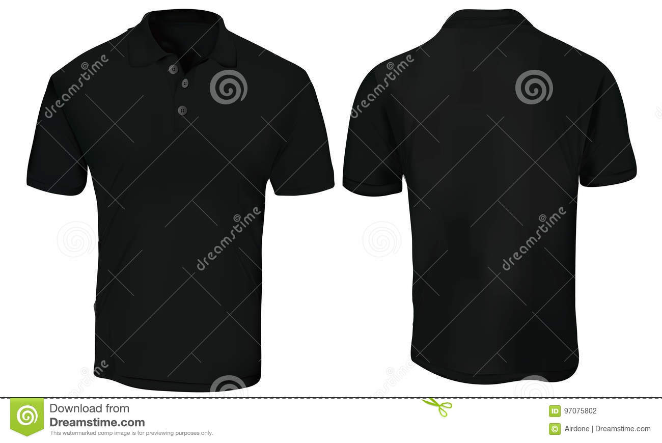 Black Polo Shirt Template Stock Vector Illustration Of Clothes