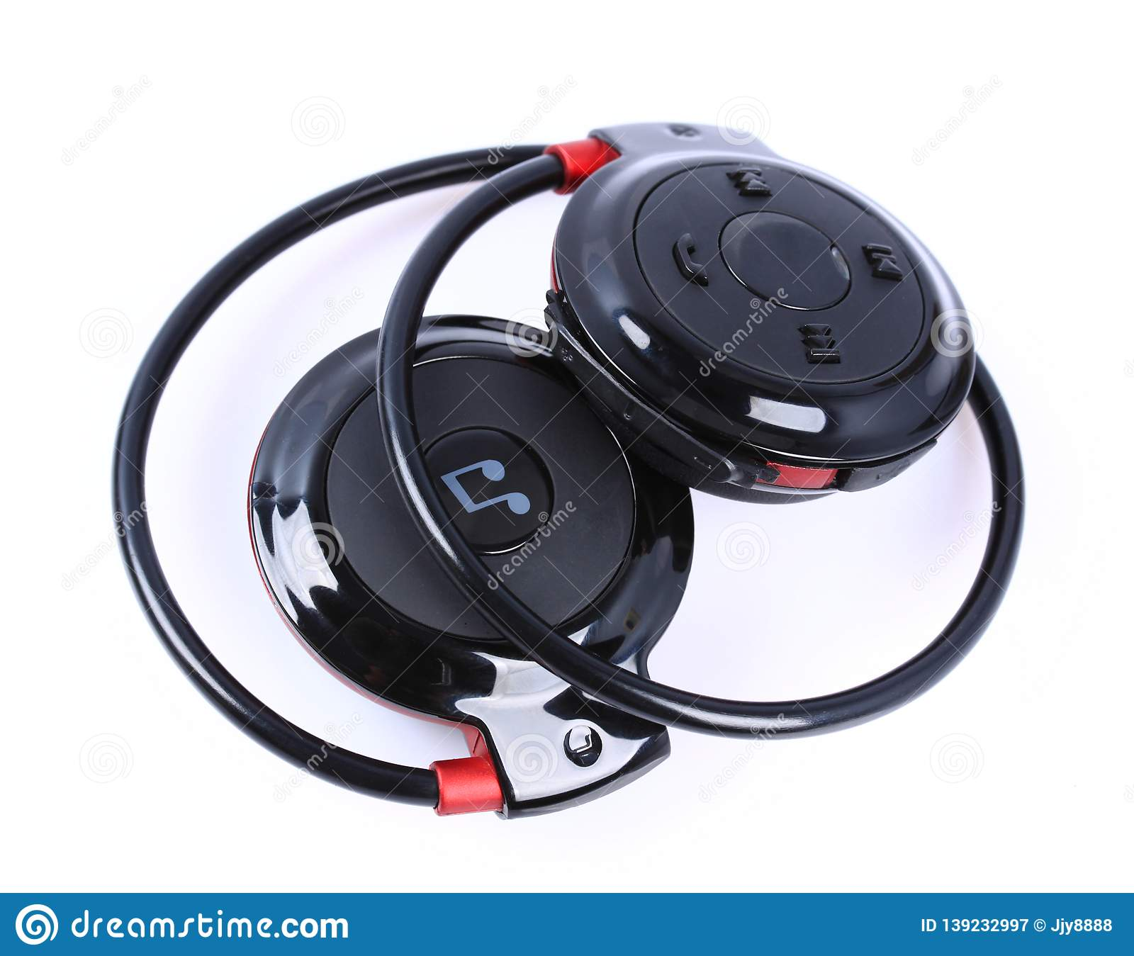 Black portable bluetooth headset
