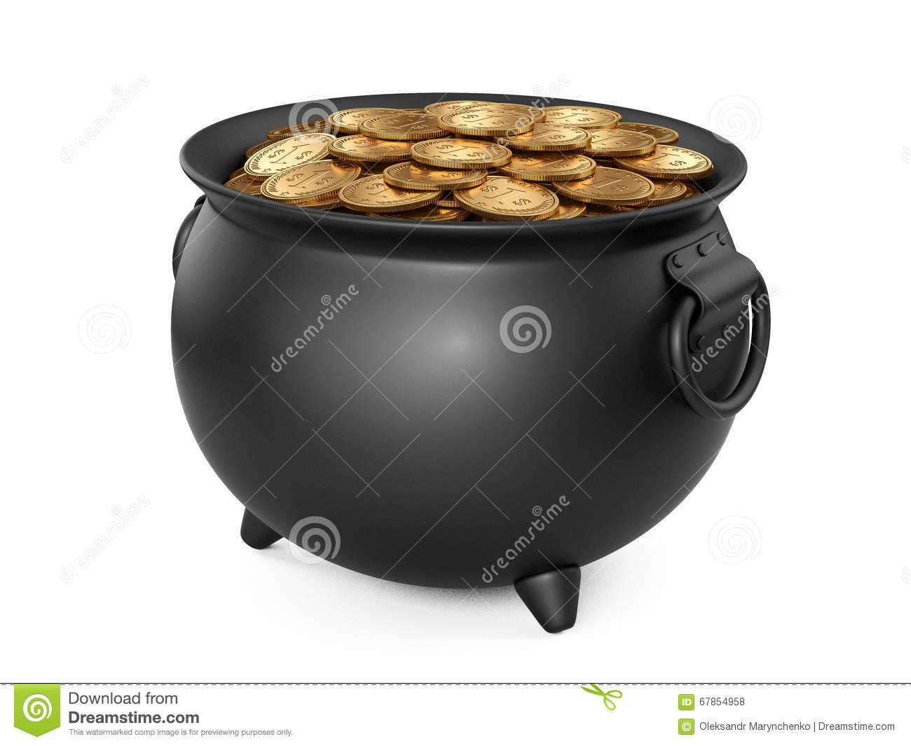 black pot of gold cauldron full of coins stock