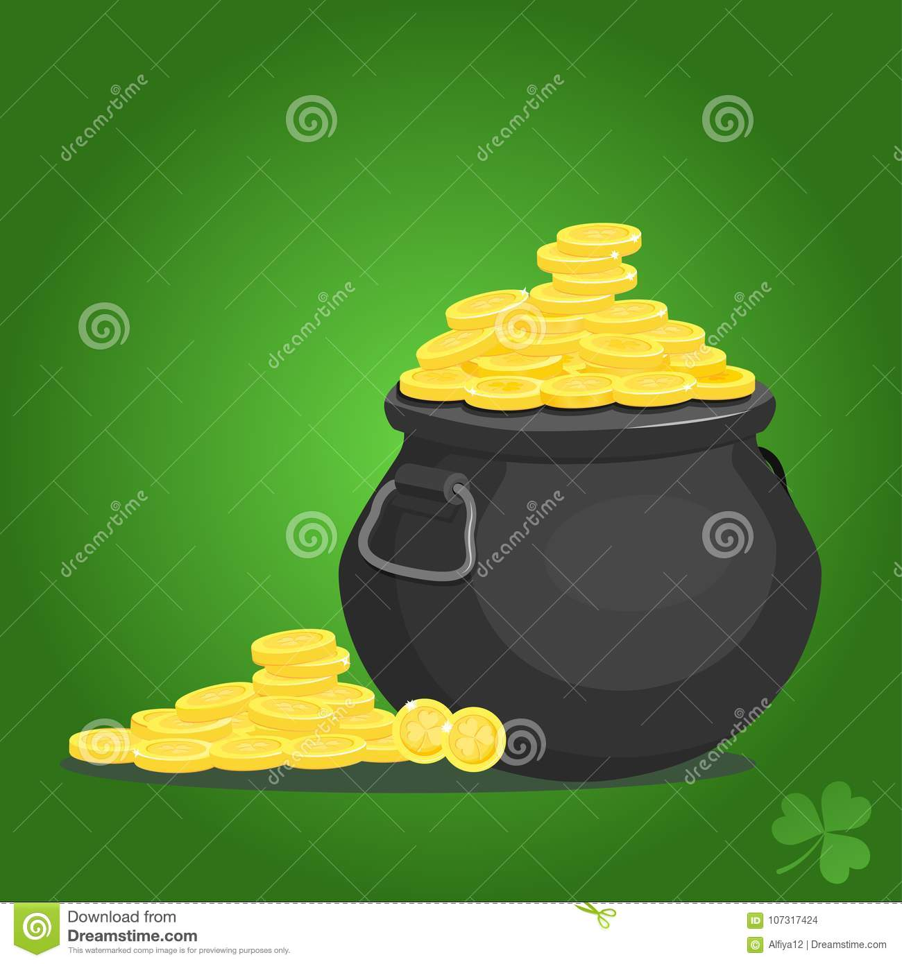 5679f07988a Black pot with gold coins stock vector. Illustration of ...