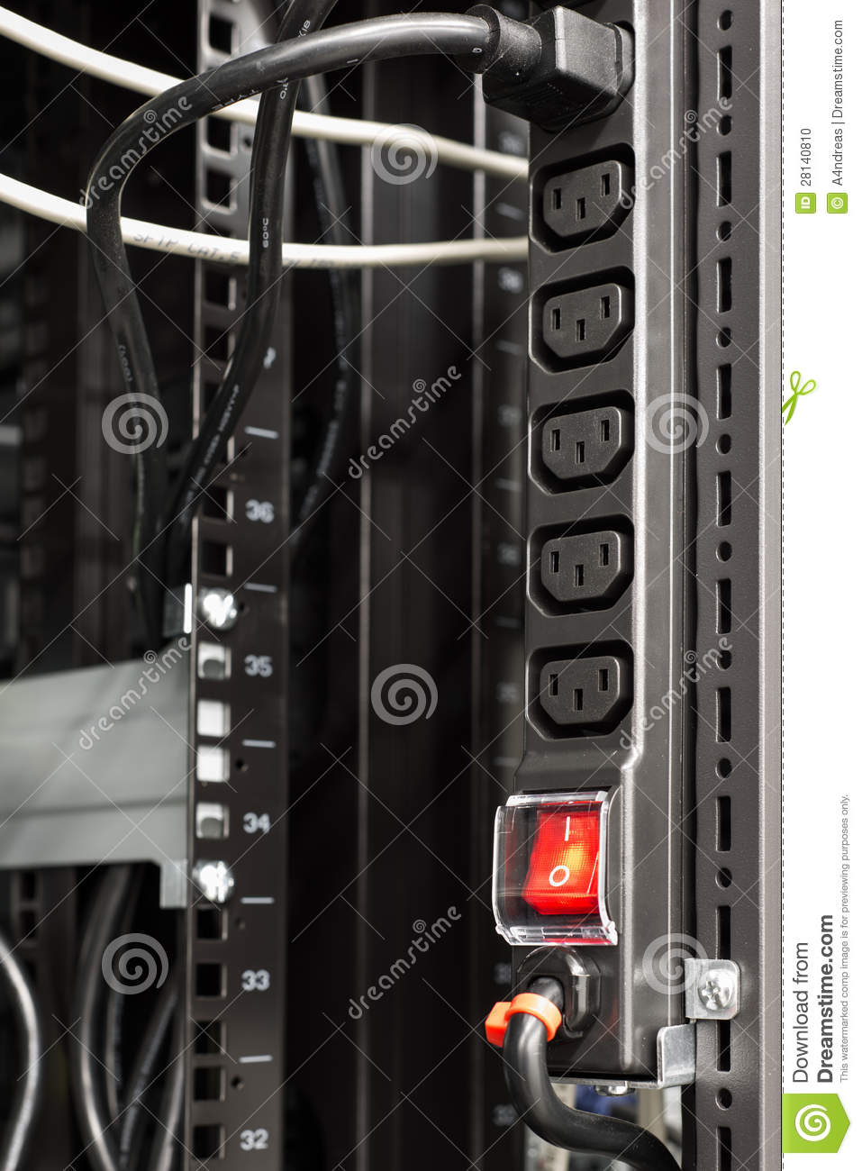 Black Power Bar In Server Rack Stock Photo Image 28140810