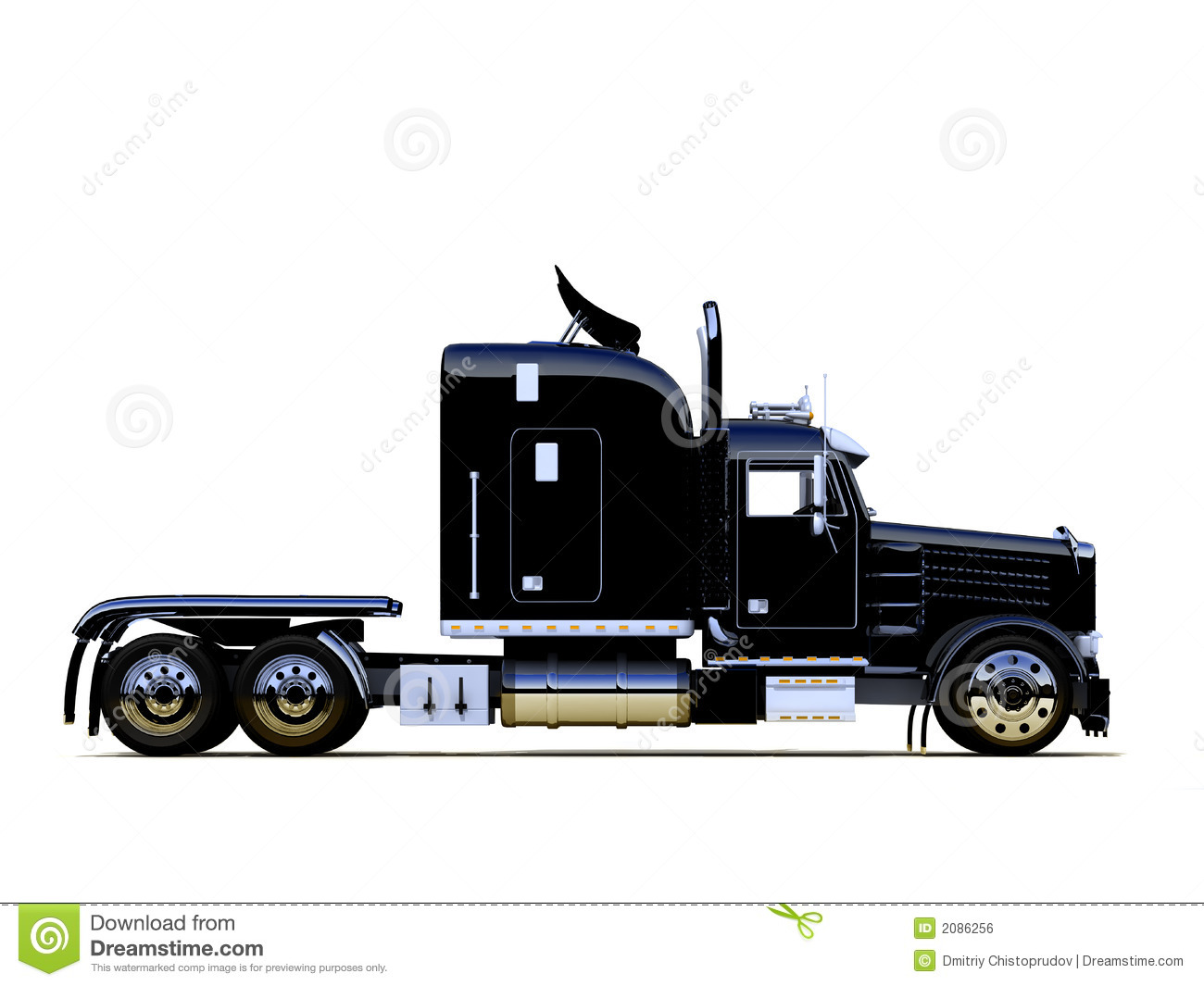 Black Semi Truck Trailer : Black powerful truck stock photo image of transportation
