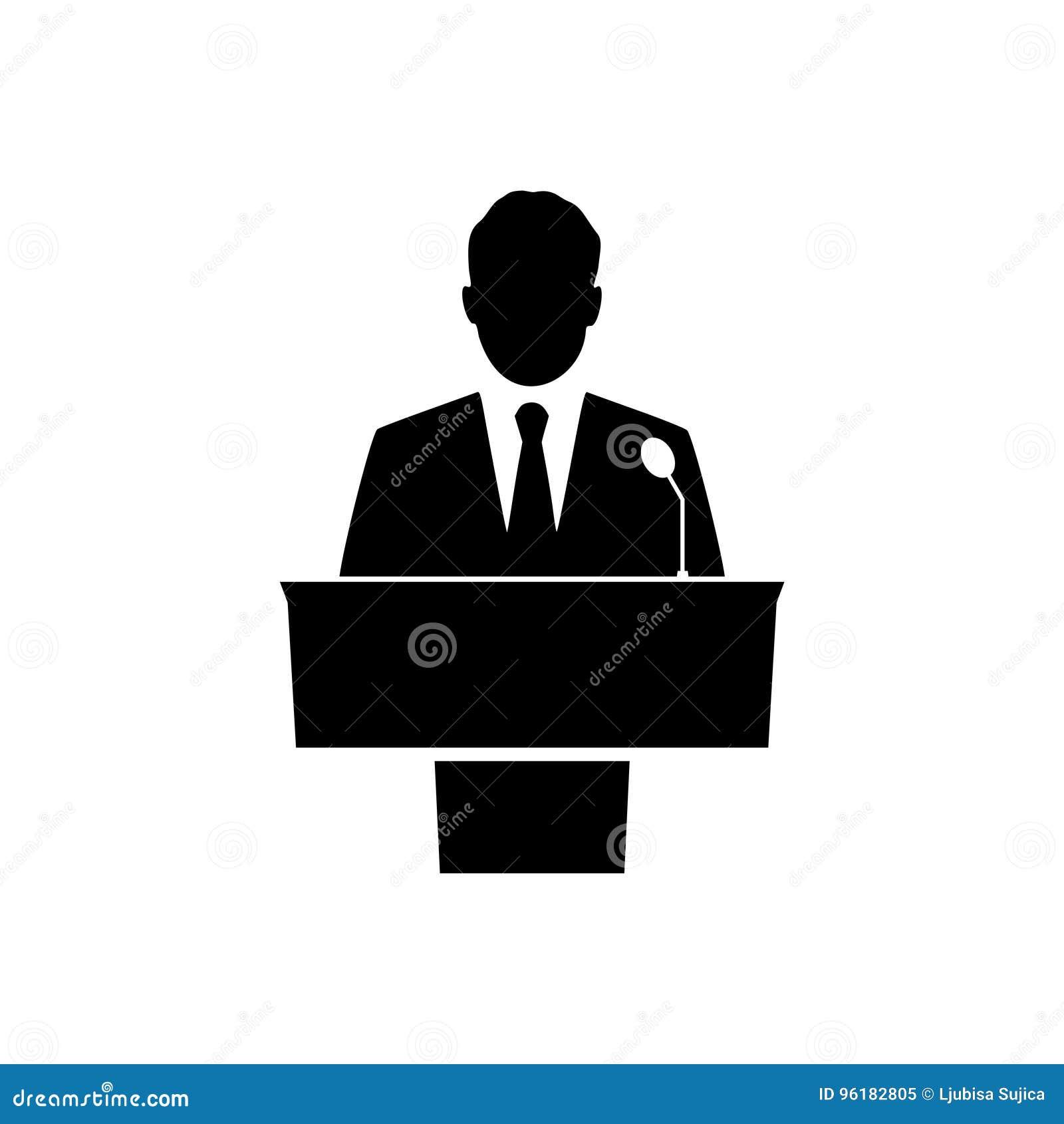 Black Public Speaker Icon On White Background Stock Vector ...