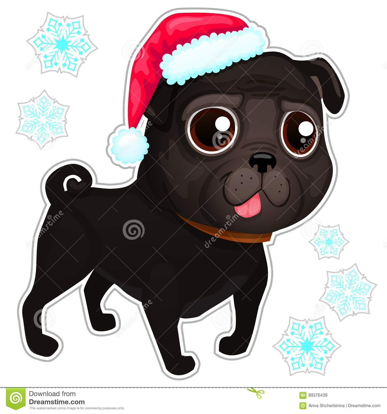 0c1f7465ca9 Black Pug In Christmas Hat. Stock Vector - Illustration of christmas ...