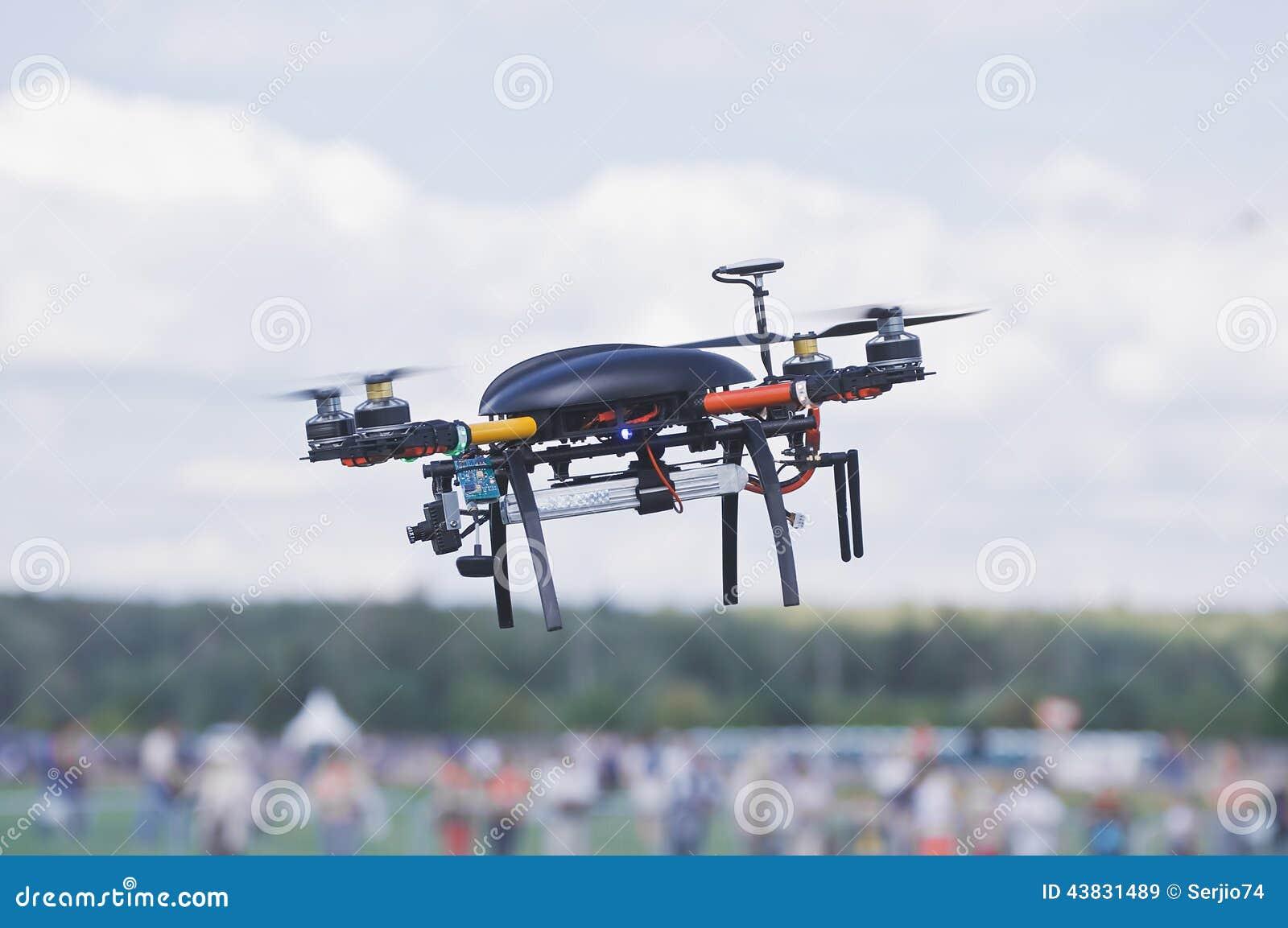 Black quadrocopter.