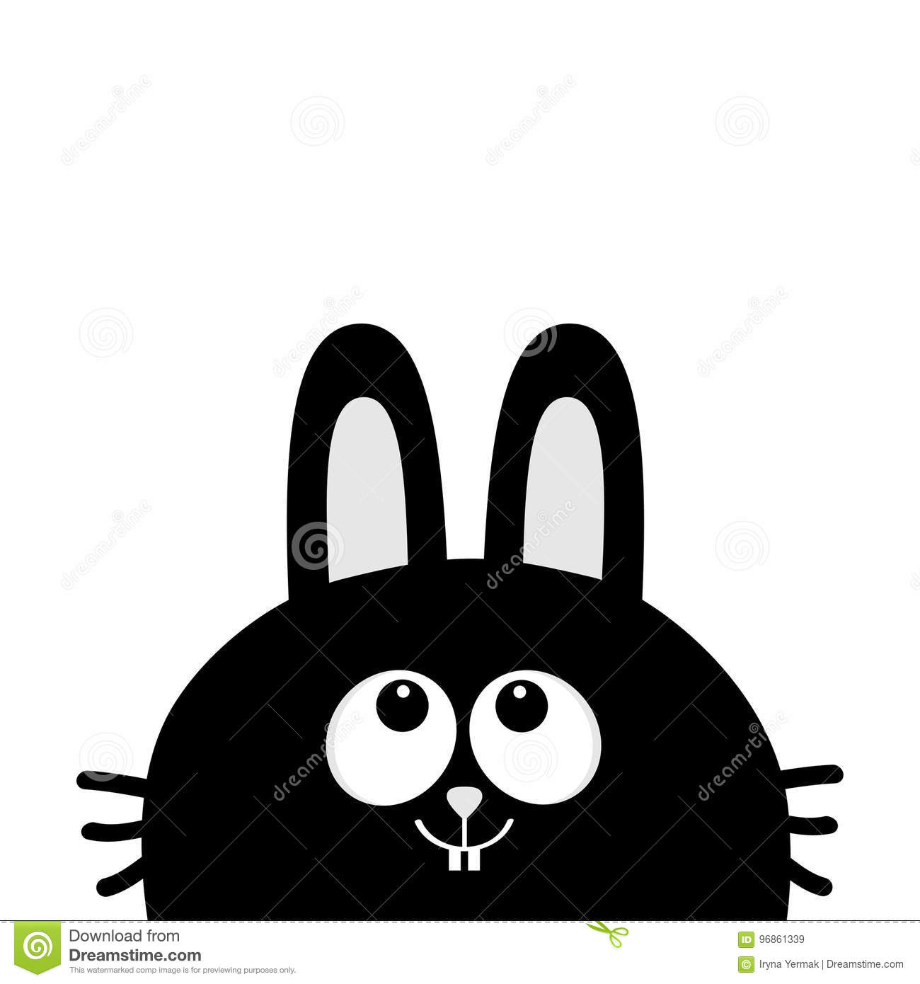 black rabbit bunny face head silhouette looking up long ear cute
