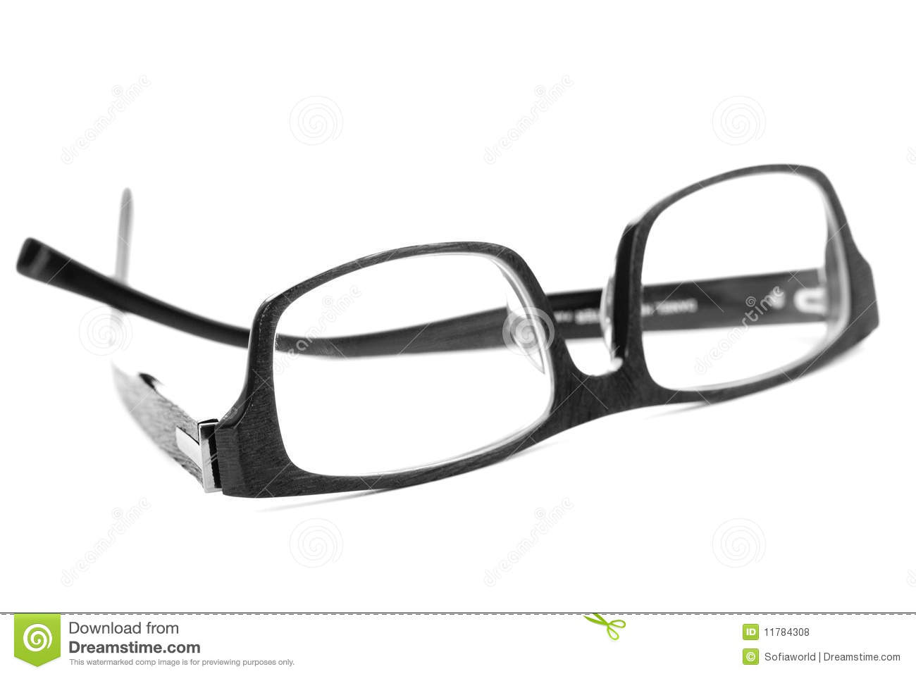 black reading glasses isolated on white royalty free stock