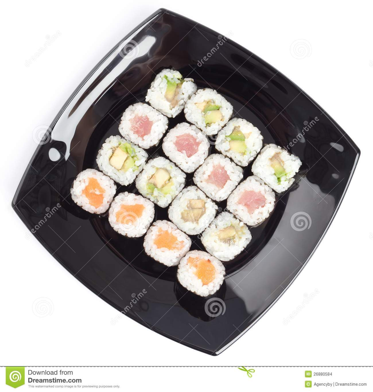 Black Rectangle Plate With Sushi Stock Photo