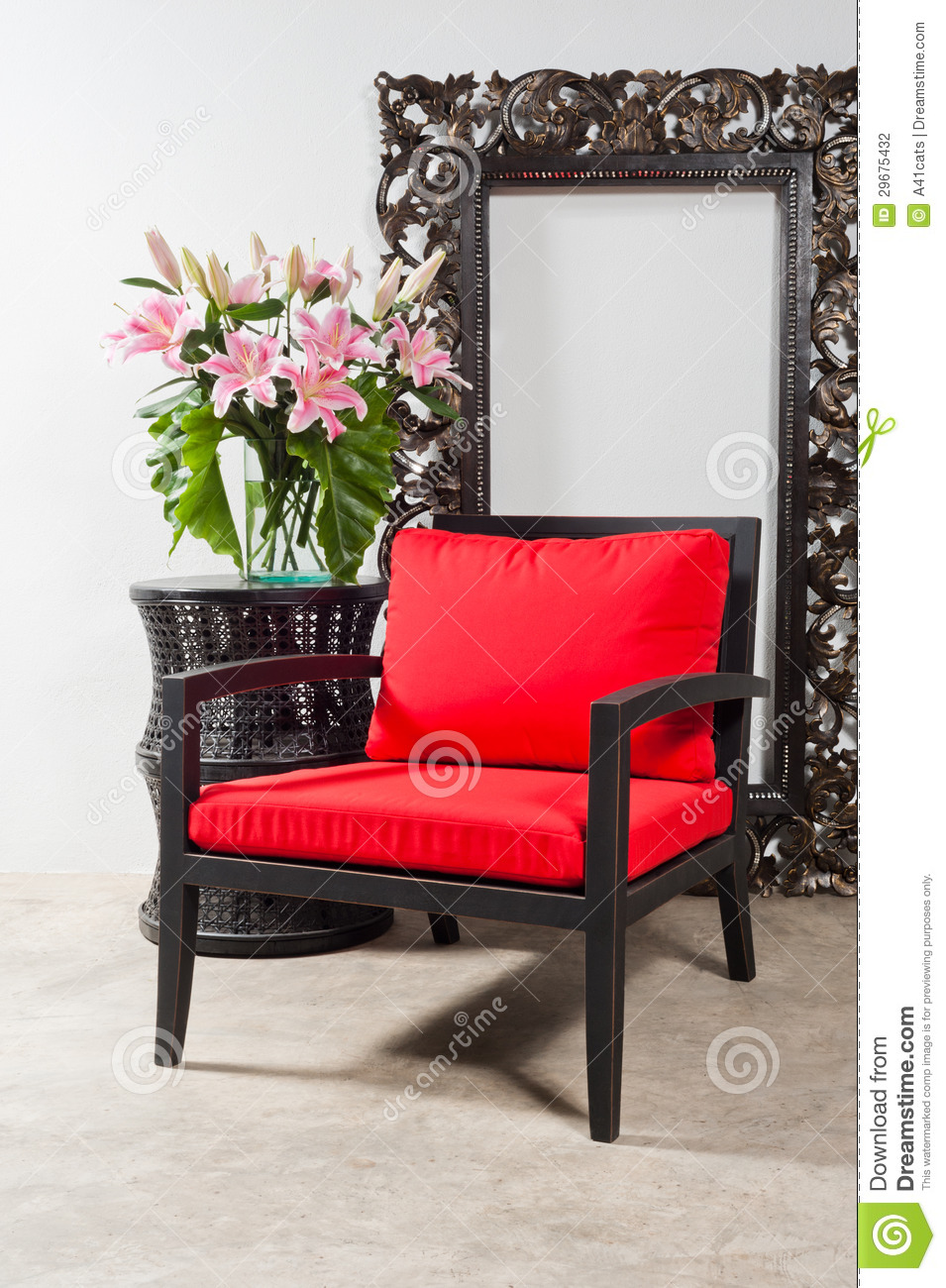 Red chair photography - Black Red Chair And Side Table Stock Photography