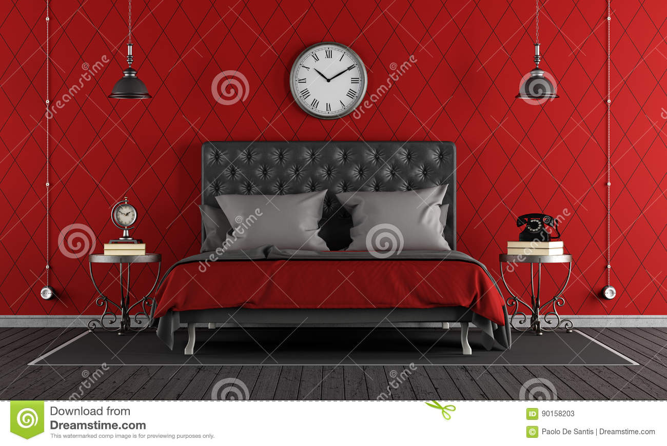 Black And Red Classic Bedroom Stock Illustration Illustration Of - Elegant-black-and-red-bedroom