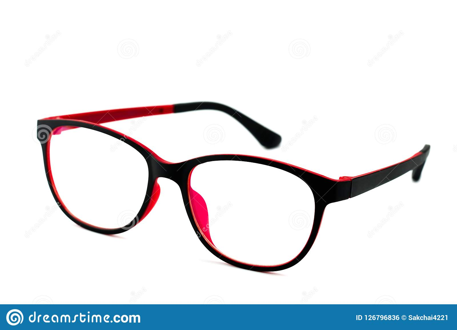 Black Red Eye Glasses Isolated