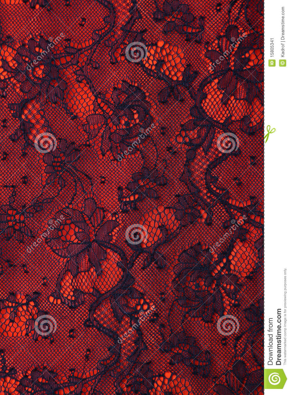 Stock Image Black And Red Floral Lace Texture Image